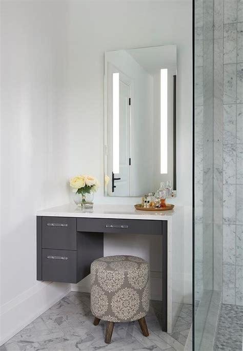 floating makeup vanity white makeup vanity with gray waterfall countertop