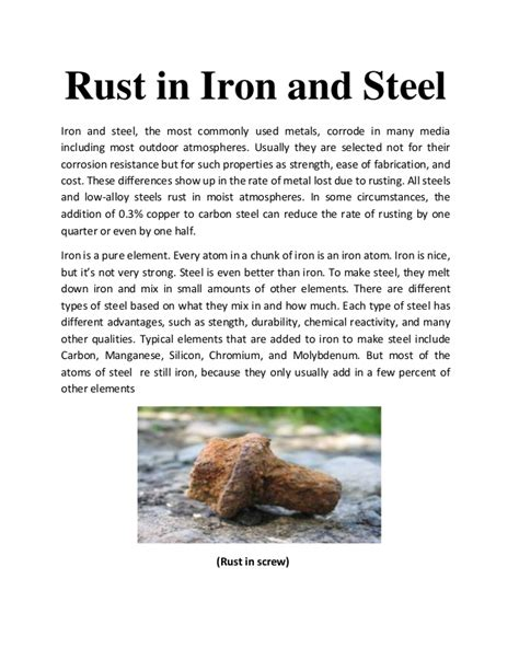 rusting fe iron rust steel most ss slideshare metals corrode