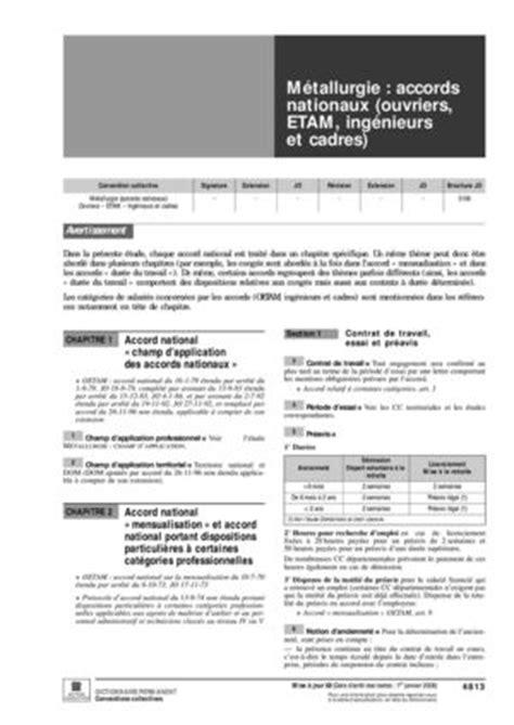 preavis demission cadre metallurgie convention collective nationale des ingenieurs et cadres de la metallurgie preavis ccmr