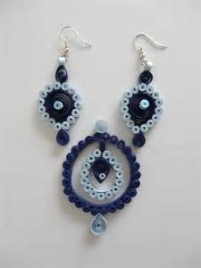earing design blue paper quilled earring pendant set quilled jewelry