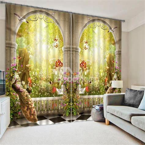 3D Symmetrical Peacock and Magic Garden Printed Bedroom