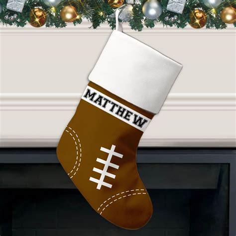 football pattern personalized christmas stocking