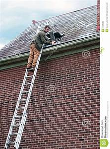 Roof Worker On Ladder Stock Image  Image Of Brick  Manual