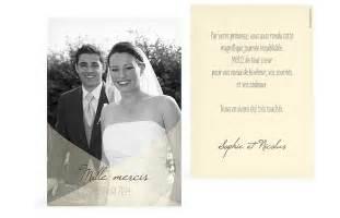 remerciement mariage carte de remerciement mariage à personnaliser faireparterie