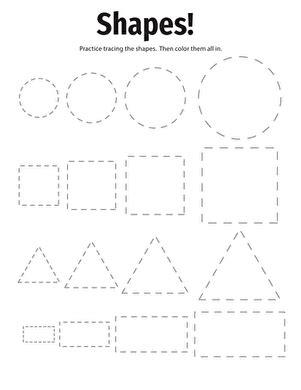 Tracing Basic Shapes  Worksheet Educationcom