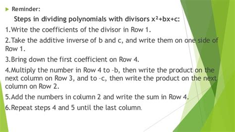 quotient  polynomial  synthetic division