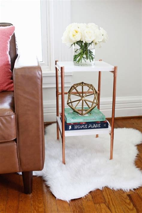 stylish diy copper pipe side table shelterness