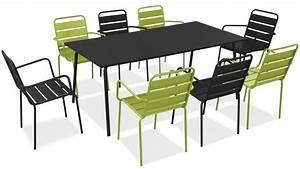 Table Salon Metal : salon de jardin metal table et fauteuils ~ Teatrodelosmanantiales.com Idées de Décoration