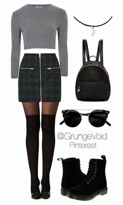 90s Skirt Plaid Polyvore Outfits Outfit Grunge