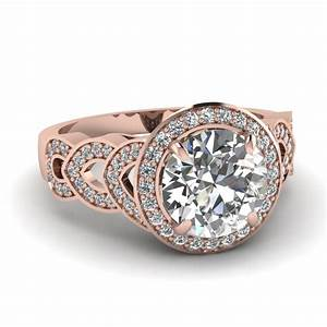 round cut diamond engagement ring in 14k rose gold With expensive gold wedding rings