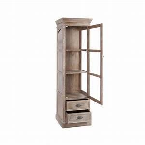 Vitrine En Bois : meuble vitrine haut 56cm bois gris patin blanchi paolia ~ Teatrodelosmanantiales.com Idées de Décoration