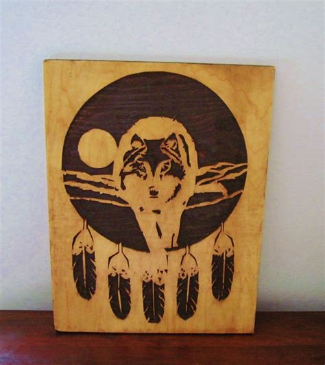 hand  native american indian inspired art wood carving