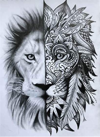 Lion Sketch Tattoo Geometric Mandala Head Tattoos