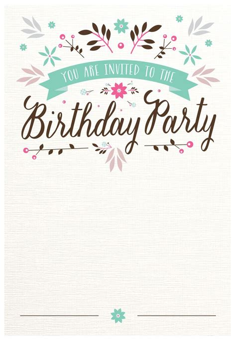 flat floral  printable birthday invitation template