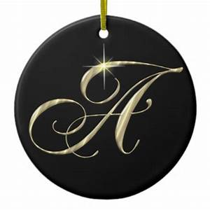 gold letter a monogram initial ornament fan pull zazzle With gold letter ornaments