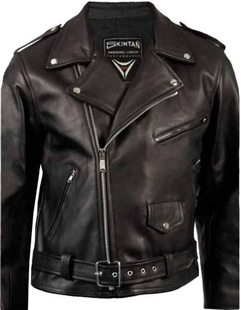 black motorbike jacket leather jacket mens classic brando cowhide skintan