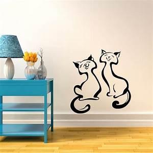 2 cats vinyl wall sticker decor decal livingroom nursery With wall vinyl decals