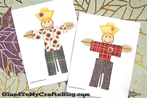 simple paper scarecrow  printable template glued