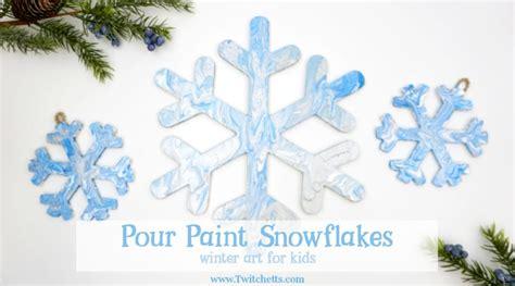 pour painted snowflake decorations winter art  kids