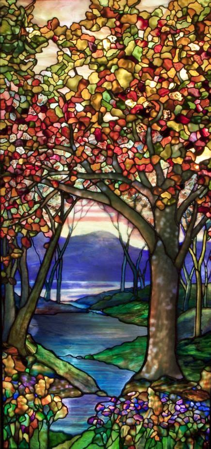 tiffany studios autumn landscape window  stained