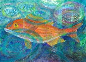 April – Orange Fish with Raindrops – Heni's Happy Paintings