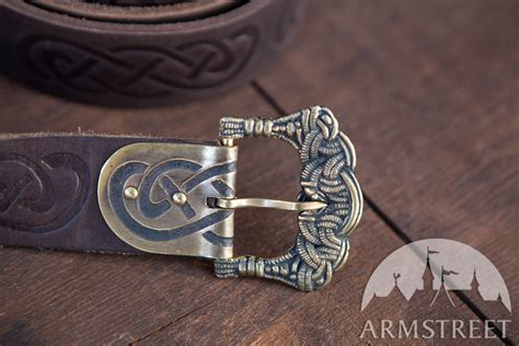 embossed vikings leather belt   brown