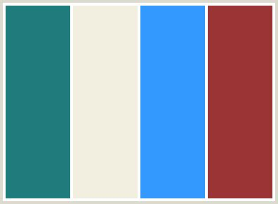 Colorcombo20 With Hex Colors #217c7e #f3efe0 #3399ff #9a3334