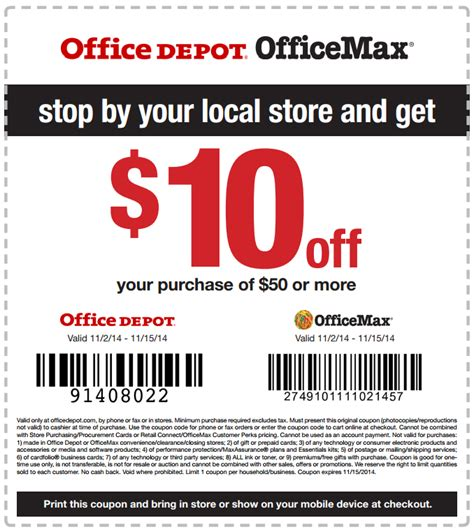 Office Depot Coupons For Printer by 10 50 Office Depot Coupon November 15 2014