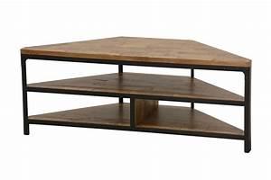 Meuble Angle Bois : meuble d 39 angle t l vision en bois et m tal 120 46 46 cm ~ Edinachiropracticcenter.com Idées de Décoration