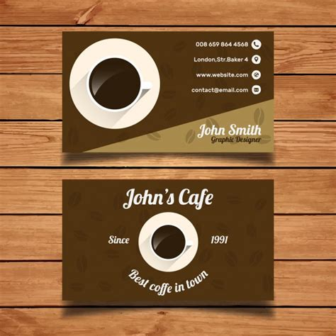 Horizontal card with loyalty program for customers of coffee shops, caffee houses etc. Coffee business card template Vector | Free Download
