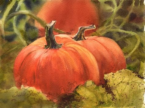 painting a pumpkin fruit vegetable paintings