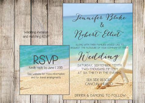 Beach Wedding Invitation. Starfish And Sand At The Beach. Printable File. Jpg Or Pdf Available