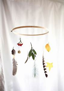 DIY LEAVES FEATHER MOBILE THE STYLE FILES