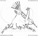 Rake Coloring Rhino Leaves Pile Line Holding Illustration Clipart Royalty Template Pages Toonaday Rf Clip sketch template