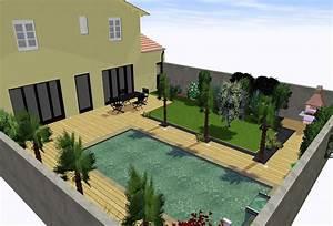 amenagement jardin terrasse bois dcoration terrasse avec With amazing amenagement petit jardin avec terrasse et piscine 11 piscine moderne vert et bleu piscine