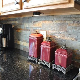 Uba Tuba granite with slate backsplash.   For the Home