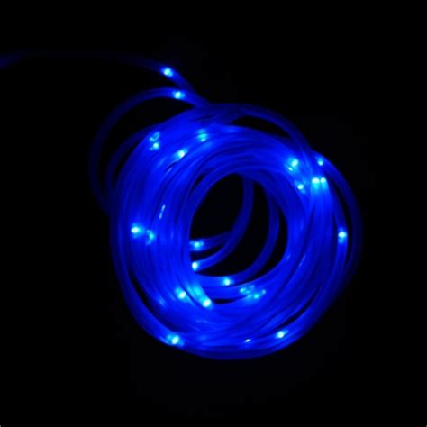 50 blue led solar powered outdoor stake rope string