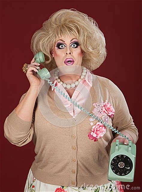 stunned drag queen  phone call royalty  stock