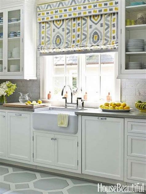yellow and gray kitchen window treatment source