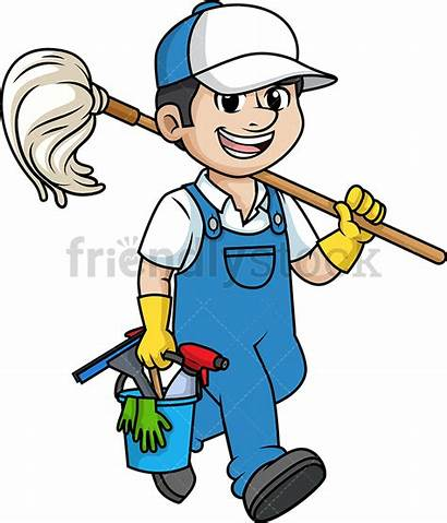 Cleaner Male Professional Cartoon Clipart Cleaning Cart