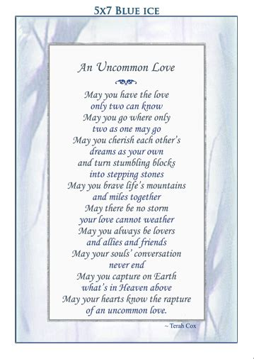 uncommon love wedding poem  terah