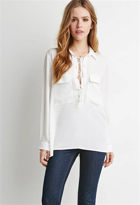 up blouse forever 21 lace up pocket blouse in white lyst