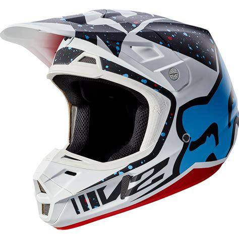 new motocross helmets fox racing 2017 mx new v2 nirv red white blue dirt