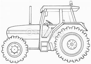 Line Drawing Of A Tractor Side View Stock Illustration ...