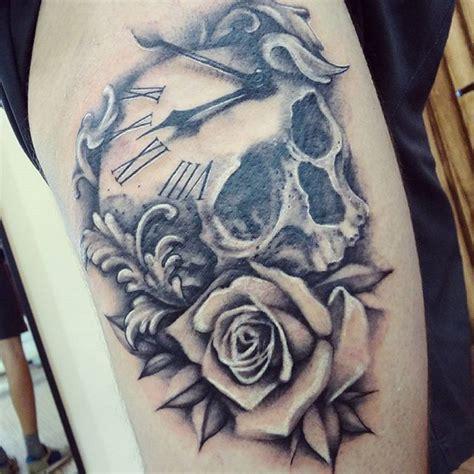 instagram media  kacjusz skull skulltattoo rose rosetattoo blackandgrey realistic