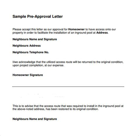 sample pre approval letter templates  ms word