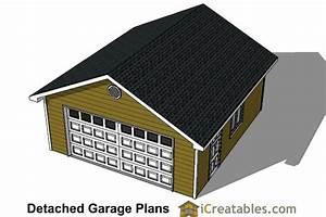 22x22 2 car 1 door detached garage plans With 22x22 garage kit