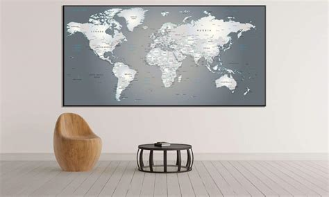 metallic large world map  office wall decor zellart