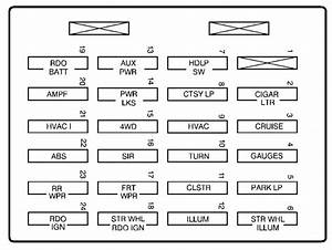 Chevrolet S-10  2003  U2013 2004   U2013 Fuse Box Diagram