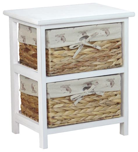 Nightstand With Baskets by Vintique Wood Nightstand Cabinet Chest With 2 Basket